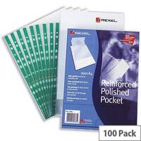Rexel Clear Punched Pockets A4 Green Strip Pack 100