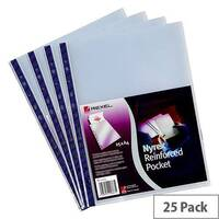 Rexel Nyrex Punched Pocket A4 Clear Blue Strip Pack 25