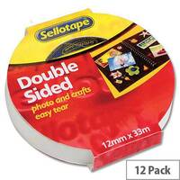 Sellotape Double Sided Sticky Tapes 12mm x 33m Pack 12