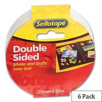 Sellotape Double Sided Sticky Tapes 25mm x 33m Pack 6