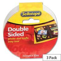 Sellotape Double Sided Sticky Tapes 50mm x 33m Pack 3