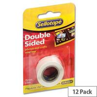 Sellotape Double Sided Sticky Tapes 15mm x 5m Pack 12