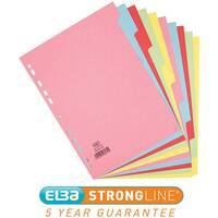 Elba A4 Card Dividers Europunched 10-Part Assorted Single - Offer 3 for 2 Jan - Dec 2019 Ref 400007246-XX