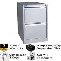 2 Drawer Steel Filing Cabinet Flush Front Goose Grey Bisley BS2E