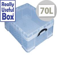 Storage Box Plastic With Lid Stackable 70 Litre Clear Really Useful