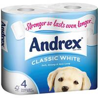 Andrex Classic White Toilet Tissue Paper Rolls Pack of 4 Ref M01389