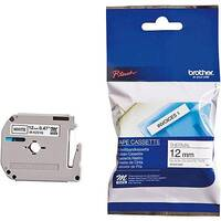 Brother P-touch M-K231SBZ 12mm x 4m Black On White Plastic Labelling Tape