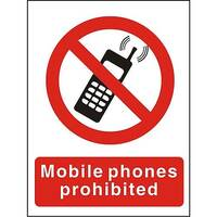 Prohibition Sign 300x400 1mm Plastic Mobile Phones Prohibited