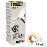 Scotch Magic Tape 900 Natural Fibre Film 19mm x 33m Pack 9
