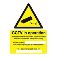 Stewart Superior Caution CCTV Camera Sign Self Adhesive Vinyl 150x200mm