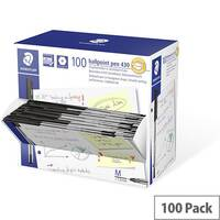 Staedtler Stick 430 Medium Ballpoint Pen Black Pack of 100