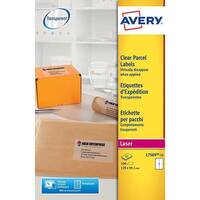 Avery Parcel Labels Clear Gloss Laser 139x99.1mm Ref L7569-25 Pack of 100