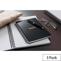 Rhodia A4 Business Book Wirebound Hard Back Ruled Margin Black Pack of 3