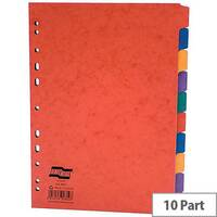 Europa A4 10-Part Subject Dividers Europunched Assorted Pack of 10