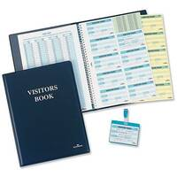 Durable Visitors Book Leather Look 100 Badge Inserts W90xH60mm 1463-00