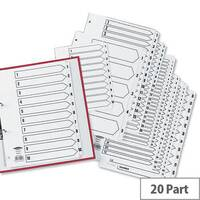 Concord 1-20 Index 2 Holes A5 Subject Dividers White