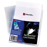 Rexel A4 Card Holder Plastic Top Opening Pack 25