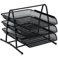 Osco 3 Tier Mesh Letter Tray Black Stackable Portrait Foolscap