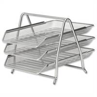 Osco Mesh Letter Trays 3 Tier Silver Stackable Foolscap