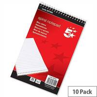 Spiral Notepad 200 x 125 Headbound Ruled 160 Pages Pack 10 5 Star