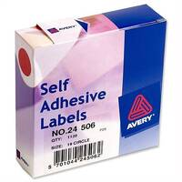 Avery Round Red Label Dispenser Diam.19mm 24-506 1120 Labels