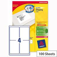 Avery L7169-100 Block Out Shipping Labels 4 per Sheet 139 x 99.1mm White 400 Labels