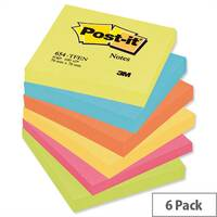 Post-it Warm Neon Notes Pad of 100 Sheets 76x76mm Rainbow Pack 6