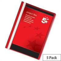 Project Flat File with Indexing Strip A4 Red Pack 5 5 Star