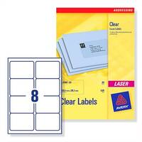 Avery 8 per Sheet Clear Laser Label (Pack of 200)