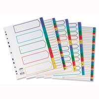 Concord Plastic A-Z Index Europunched Extra Wide A4 Subject Dividers Assorted
