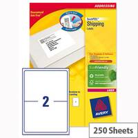 Avery L7168-250 Address Labels Laser 2 per Sheet 199.6 x 143.5mm White 500 Labels