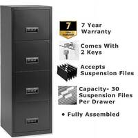 Pierre Henry A4 4 Drawer Steel Filing Cabinet Lockable Black