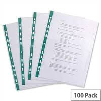 Elba Glass Clear Multipunched Pocket Green Strip 55 Micron A4 202908 Pack 100