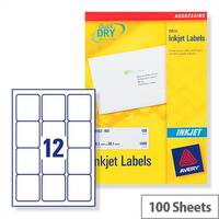 Avery Quickdry Inkjet Label 12 Per Sheet (Pack of 100)