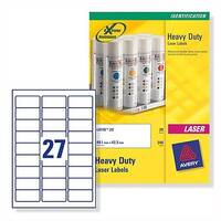 Avery L6011-20 Silver Heavy Duty Labels Laser 63.5x29.6mm 540 Labels