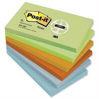 Post-it Recycled Notes Pad 76x127mm Pastel Colours Pack 12