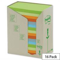 Post-it Notes Pad Recycled Tower Pack 76x127mm Pastel Rainbow Pack 16