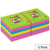 Post-it Super Sticky Removable Notes Pad 76x76mm 90 Sheets Ultra Assorted Pack 12