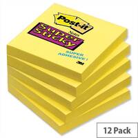 Post-it Super Sticky Removable Notes 76x76mm Pad 90 Sheets Yellow Pack 12