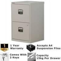 2 Drawer A4 Steel Filing Cabinet Lockable Grey Bisley PFA Home Filers
