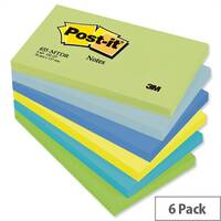 Post-it Colour Notes Pad 76x127mm of 100 Sheets Cool Neon Rainbow Pack 6