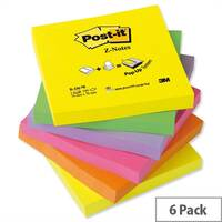 Post-it Z-Notes 76x76mm Neon Rainbow Pack 6