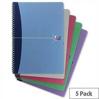 Oxford Office A4 Notebook Wirebound Plastic Cover Assorted Pack 5