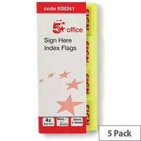 5 Star Office Index Flag Sign Here Yellow  Pack 5
