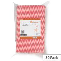 5 Star Facilities Cloths Anti-microbial 40gsm 50x30cm Wavy Line Red [Pack 50]