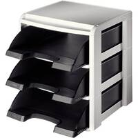 Leitz Plus Letter Tray Rack Grey &Black