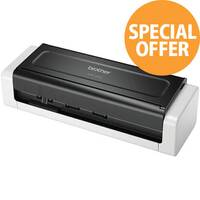 Brother ADS-1200W A4 Mobile Document Scanner, 25 Pages Per Minute, USB 3.0 Powered, Windows ; Mac and Linux Compatible