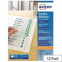 Avery L7455-12 Index Divider Set Punched 12-Part