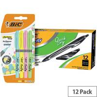 Bic Gel-ocity Quick Dry Pen Black Pack of 12 BC810748 FOC Bic Highlighter Grip Pastel Pack of 4