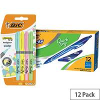 Bic Gel-ocity Quick Dry Pen Blue Pack of 12 BC810749 FOC Bic Highlighter Grip Pastel Pack of 4
